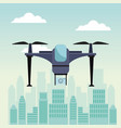 city landscape scene with modern drone with two vector image vector image
