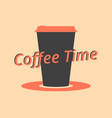 coffee time coffee cup black and red color vector image vector image