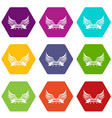 eagle wing icons set 9 vector image