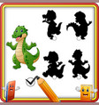 find the correct shadow funny crocodile standing vector image vector image