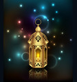 glowing background with lantern arabian fanoos vector image