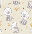 gramophone seamless pattern- vintage hand drawn vector image vector image