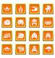 helmet icons set orange square vector image vector image