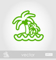 island with palm trees icon summer vacation vector image