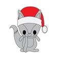 kawaii animal style with Christmas theme isolated vector image