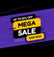 label template mega sale with button shop now vector image