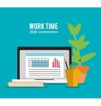 laptop office work time supply icon vector image vector image