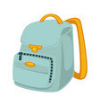 light blue backpack with yellow slings isolated vector image