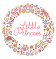 little princess icons frame vector image vector image