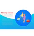 making money smart lady with truck money bags vector image