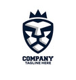 modern logo lion head and shield vector image