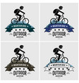 mountain biking logo design artwork of cyclist vector image