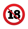 No 18 years old sign Adults content vector image vector image