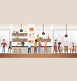 people drink coffe into interior cafe bar vector image vector image