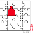 puzzle with a dish vector image
