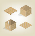 realistic wooden box with pallet isometric vector image vector image