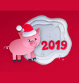 red colored postcard of new year pig vector image