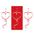 ribbons heart set valentines day concept vector image
