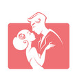 romantic couple bride and groom wedding emblem vector image vector image