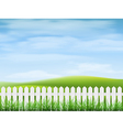 Rural landscape with grass and fence vector image