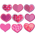 Scrapbook set of hearts in stitched textile style vector image vector image