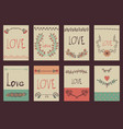 set of template design for greeting card love vector image
