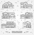 set thin line icon suburban american houses vector image vector image