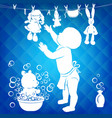 silhouette baby wipes toys vector image vector image