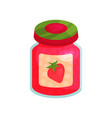 strawberry jam in glass jar with lid homemade vector image