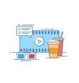 The concept of online cinema Popcorn and a drink vector image