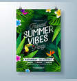 tropical summer vibes party flyer design vector image