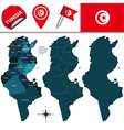 Tunisia map with named divisions vector image vector image