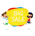 two cartoon kids jump near banner big sale vector image