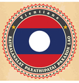 Vintage label cards of Laos flag vector image
