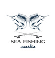 vintage sea fishing with marlin vector image