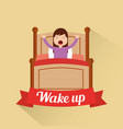 wake up young girl stretch arms ribbon decoration vector image