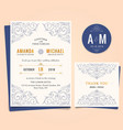wedding invitation with vintage floral frame vector image vector image
