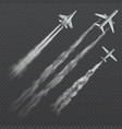 airplanes and military fighters with condensation vector image