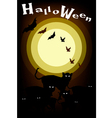 Gang of Halloween Cats on Full Moon Background vector image