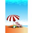 Beach landscape sea sun sky and cloud summer vector image