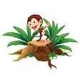 A monkey dancing above the trunk vector image vector image