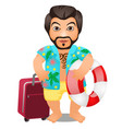 animated male tourist with a suitcase and a vector image vector image