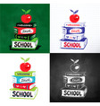 apple on books with back to school lettering vector image vector image