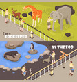 at zoo horizontal banners vector image vector image