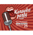 banner for karaoke party with singing mouth vector image vector image