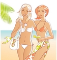 beach girls vector image vector image