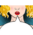 beautiful and sexy surprised blonde pop art girl vector image