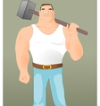 Big workman with hammer vector image vector image