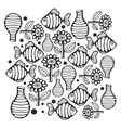 Black and white page with fish and flowers vector image