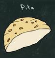 black board background pita pocket bread arabic vector image vector image